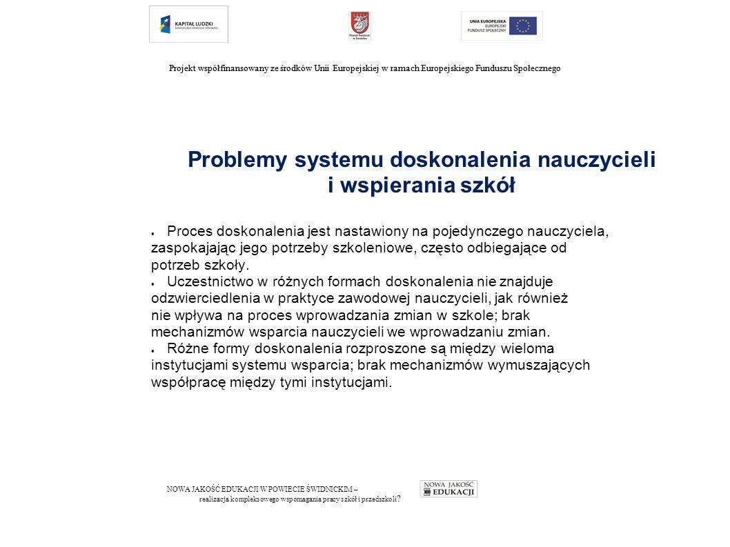 Projekt współfinansowany ze środków Unii Europejskiej w ramach Europejskiego Funduszu Społecznego Problemy systemu doskonalenia nauczycieli i wspierania szkół  Proces doskonalenia jest nastawiony na pojedynczego nauczyciela, zaspokajając jego potrzeby szkoleniowe, często odbiegające od potrzeb szkoły.