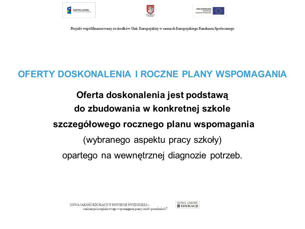 Projekt współfinansowany ze środków Unii Europejskiej w ramach Europejskiego Funduszu Społecznego OFERTY DOSKONALENIA I ROCZNE PLANY WSPOMAGANIA Oferta doskonalenia jest podstawą do zbudowania w konkretnej szkole szczegółowego rocznego planu wspomagania (wybranego aspektu pracy szkoły) opartego na wewnętrznej diagnozie potrzeb.