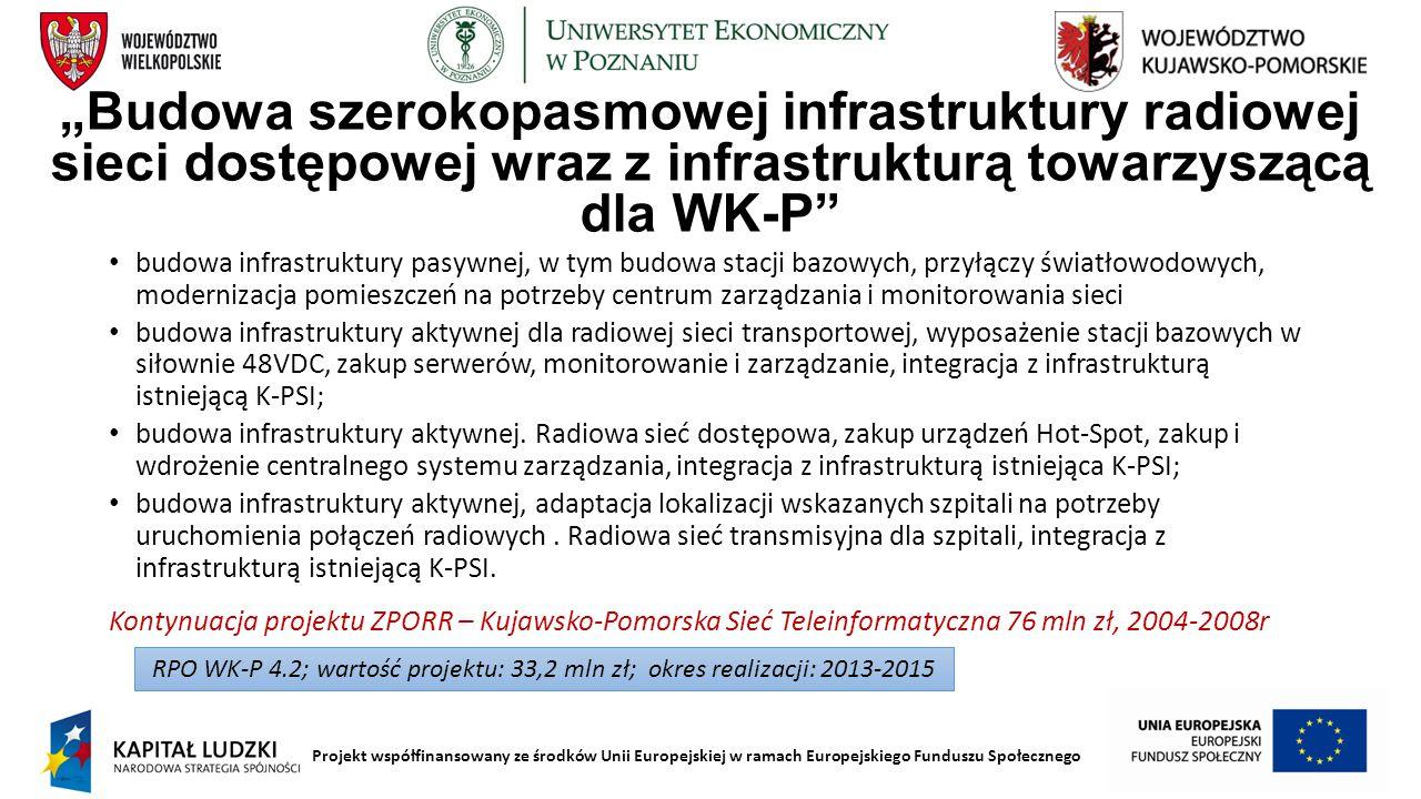 """Projekt współfinansowany ze środków Unii Europejskiej w ramach Europejskiego Funduszu Społecznego """"Budowa szerokopasmowej infrastruktury radiowej siec"""
