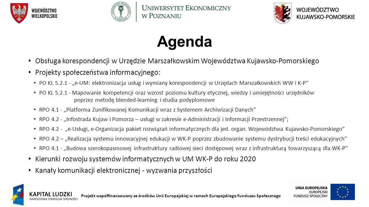 Projekt współfinansowany ze środków Unii Europejskiej w ramach Europejskiego Funduszu Społecznego Agenda Obsługa korespondencji w Urzędzie Marszałkows