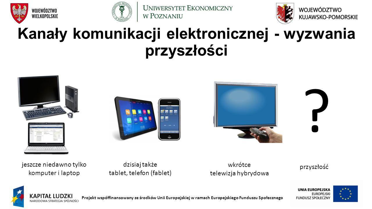 Projekt współfinansowany ze środków Unii Europejskiej w ramach Europejskiego Funduszu Społecznego Kanały komunikacji elektronicznej - wyzwania przyszł