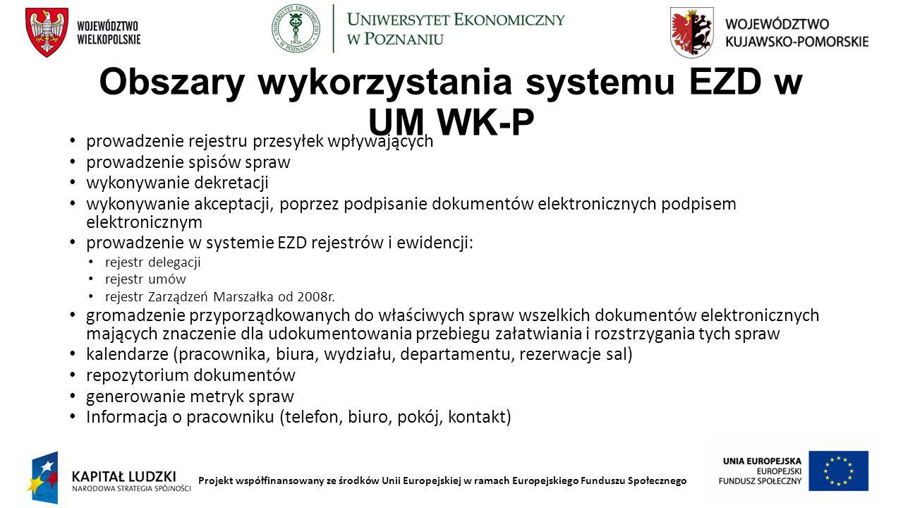 Projekt współfinansowany ze środków Unii Europejskiej w ramach Europejskiego Funduszu Społecznego Obszary wykorzystania systemu EZD w UM WK-P prowadze