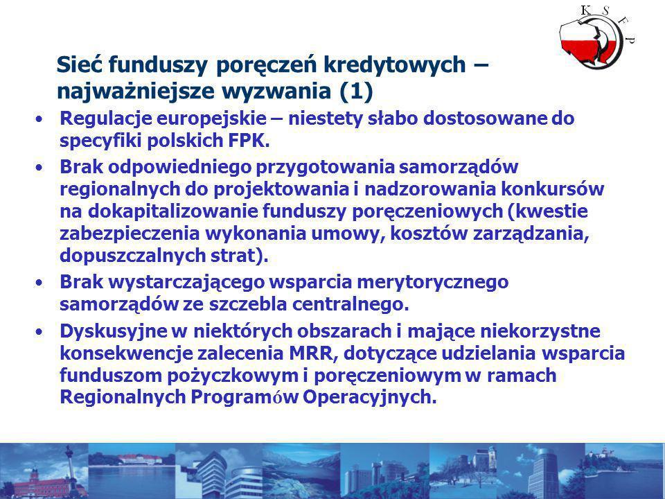 Sieć funduszy poręczeń kredytowych – najważniejsze wyzwania (1) Regulacje europejskie – niestety słabo dostosowane do specyfiki polskich FPK.