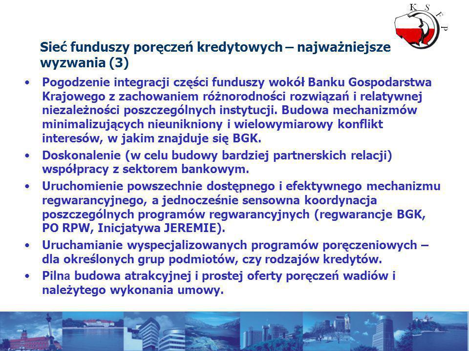 Sieć funduszy poręczeń kredytowych – najważniejsze wyzwania (3) Pogodzenie integracji części funduszy wokół Banku Gospodarstwa Krajowego z zachowaniem różnorodności rozwiązań i relatywnej niezależności poszczególnych instytucji.