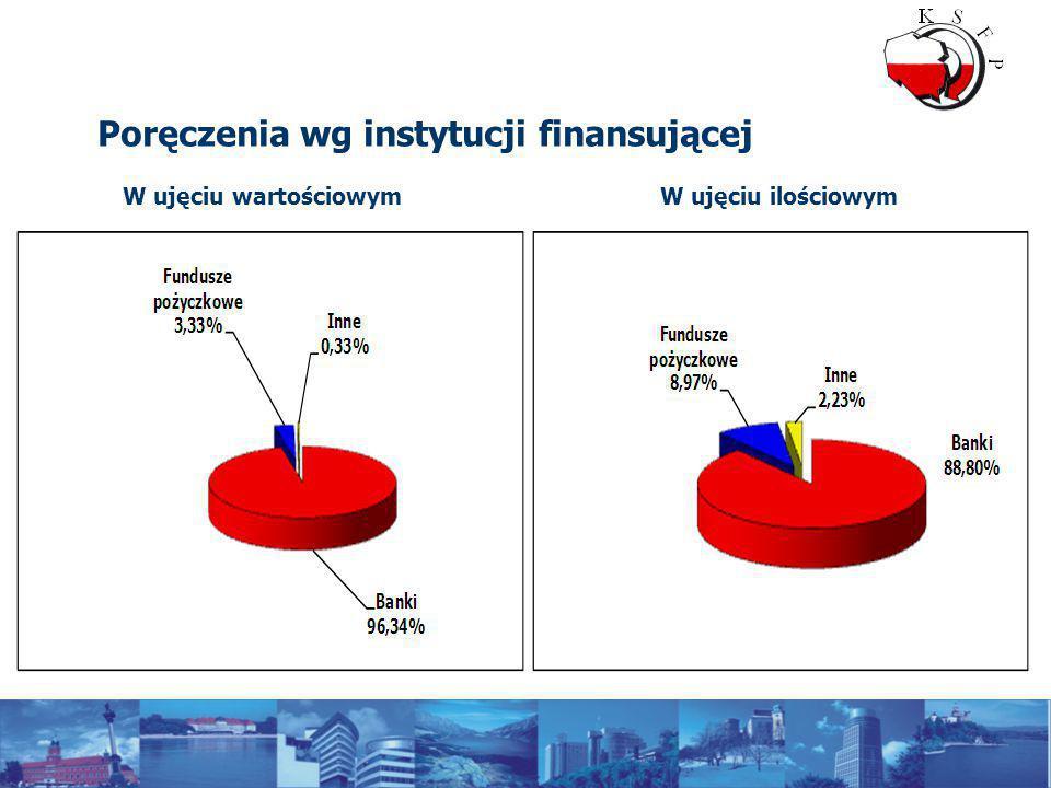 Poręczenia wg instytucji finansującej W ujęciu wartościowymW ujęciu ilościowym