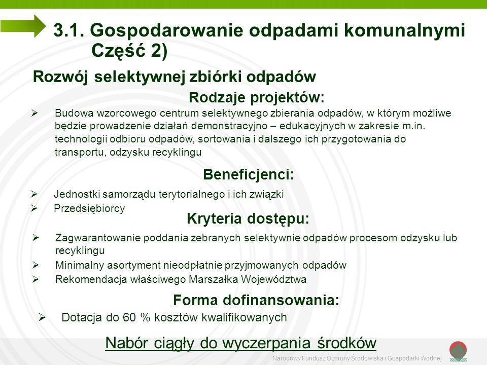 Narodowy Fundusz Ochrony Środowiska i Gospodarki Wodnej 3.1. Gospodarowanie odpadami komunalnymi Część 2) Rozwój selektywnej zbiórki odpadów Rodzaje p