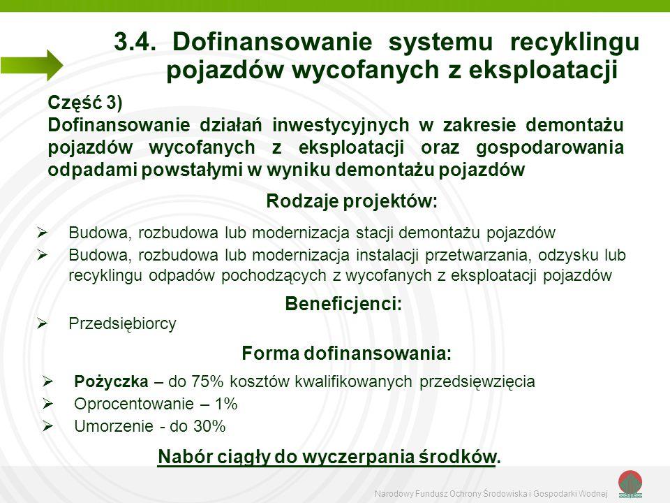 Narodowy Fundusz Ochrony Środowiska i Gospodarki Wodnej 3.4. Dofinansowanie systemu recyklingu pojazdów wycofanych z eksploatacji Część 3) Dofinansowa
