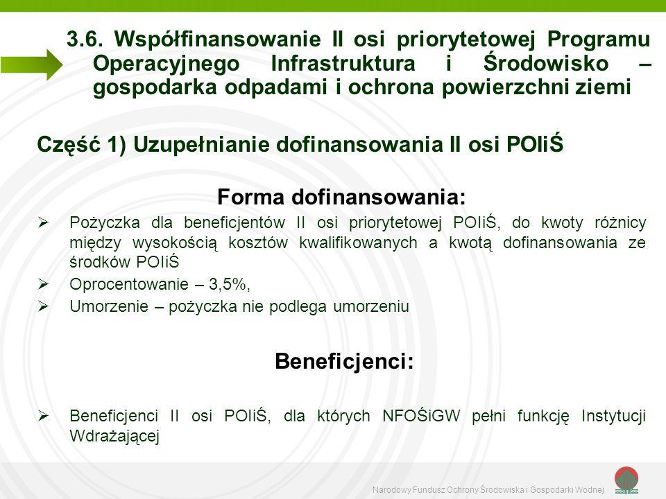 Narodowy Fundusz Ochrony Środowiska i Gospodarki Wodnej 3.6. Współfinansowanie II osi priorytetowej Programu Operacyjnego Infrastruktura i Środowisko