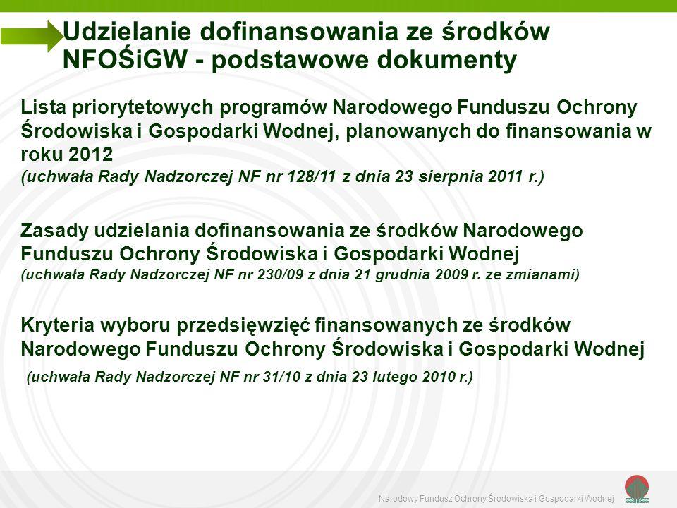 Narodowy Fundusz Ochrony Środowiska i Gospodarki Wodnej Udzielanie dofinansowania ze środków NFOŚiGW - podstawowe dokumenty Lista priorytetowych progr