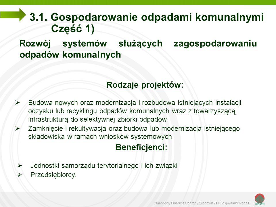 Narodowy Fundusz Ochrony Środowiska i Gospodarki Wodnej 3.1. Gospodarowanie odpadami komunalnymi Część 1) Rozwój systemów służących zagospodarowaniu o