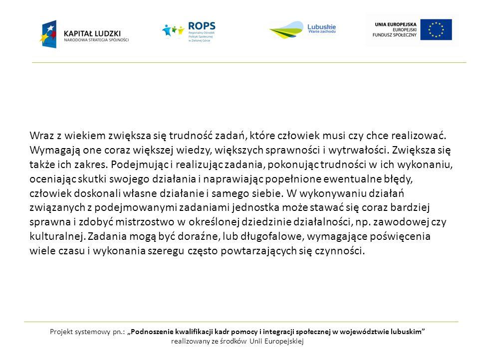 """Projekt systemowy pn.: """"Podnoszenie kwalifikacji kadr pomocy i integracji społecznej w województwie lubuskim realizowany ze środków Unii Europejskiej Wraz z wiekiem zwiększa się trudność zadań, które człowiek musi czy chce realizować."""