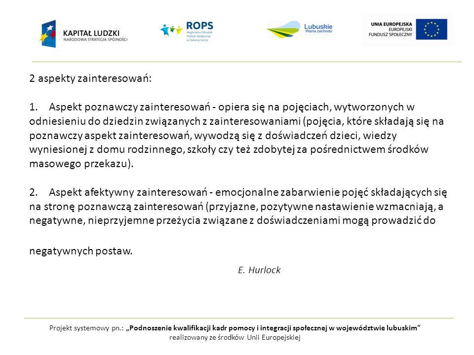 """Projekt systemowy pn.: """"Podnoszenie kwalifikacji kadr pomocy i integracji społecznej w województwie lubuskim realizowany ze środków Unii Europejskiej 2 aspekty zainteresowań: 1."""