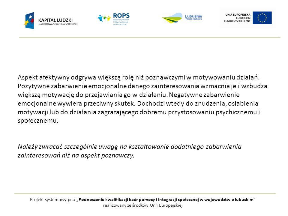 """Projekt systemowy pn.: """"Podnoszenie kwalifikacji kadr pomocy i integracji społecznej w województwie lubuskim realizowany ze środków Unii Europejskiej Aspekt afektywny odgrywa większą rolę niż poznawczymi w motywowaniu działań."""