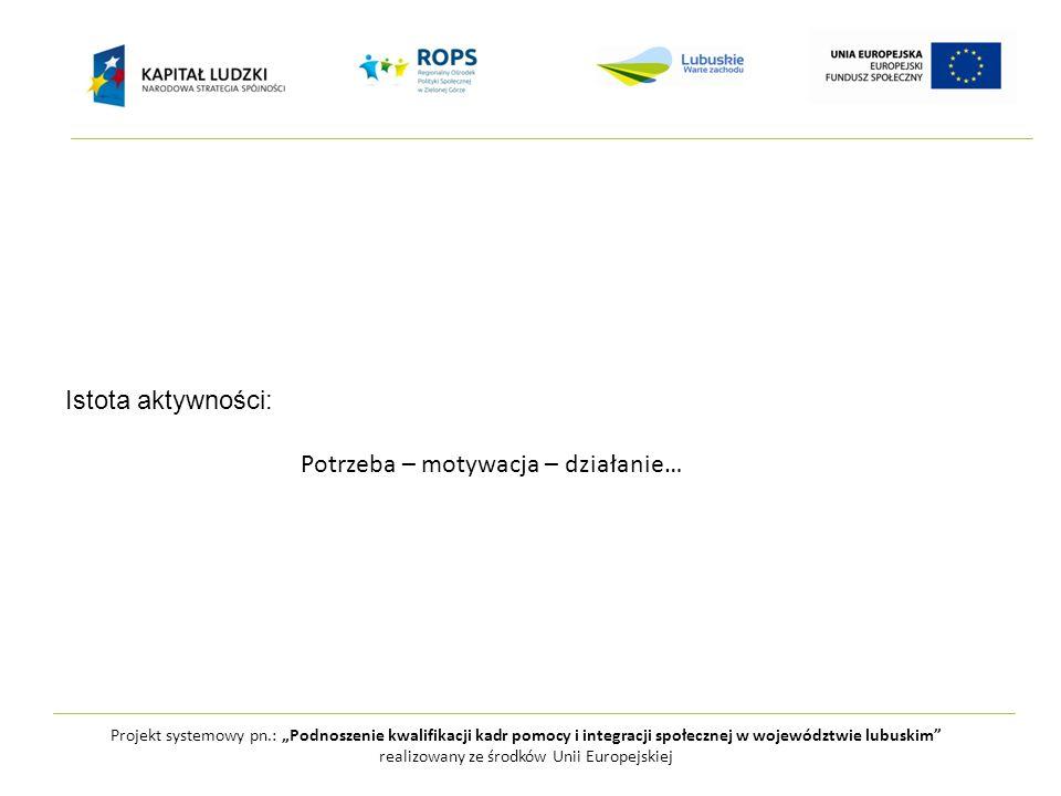 """Projekt systemowy pn.: """"Podnoszenie kwalifikacji kadr pomocy i integracji społecznej w województwie lubuskim realizowany ze środków Unii Europejskiej Istota aktywności: Potrzeba – motywacja – działanie…"""