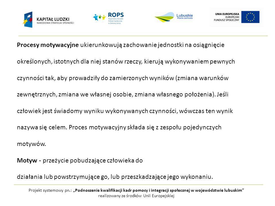 """Projekt systemowy pn.: """"Podnoszenie kwalifikacji kadr pomocy i integracji społecznej w województwie lubuskim realizowany ze środków Unii Europejskiej Procesy motywacyjne ukierunkowują zachowanie jednostki na osiągnięcie określonych, istotnych dla niej stanów rzeczy, kierują wykonywaniem pewnych czynności tak, aby prowadziły do zamierzonych wyników (zmiana warunków zewnętrznych, zmiana we własnej osobie, zmiana własnego położenia)."""