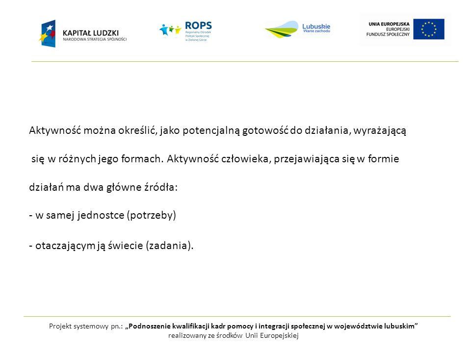 """Projekt systemowy pn.: """"Podnoszenie kwalifikacji kadr pomocy i integracji społecznej w województwie lubuskim realizowany ze środków Unii Europejskiej Aktywność można określić, jako potencjalną gotowość do działania, wyrażającą się w różnych jego formach."""