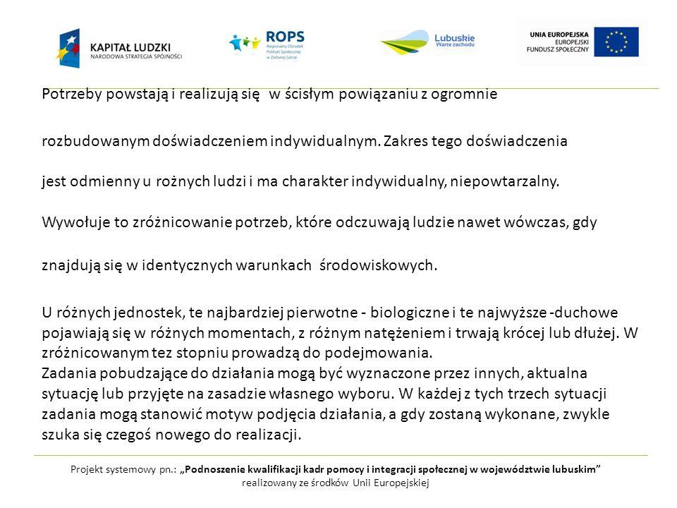 """Projekt systemowy pn.: """"Podnoszenie kwalifikacji kadr pomocy i integracji społecznej w województwie lubuskim realizowany ze środków Unii Europejskiej Potrzeby powstają i realizują się w ścisłym powiązaniu z ogromnie rozbudowanym doświadczeniem indywidualnym."""