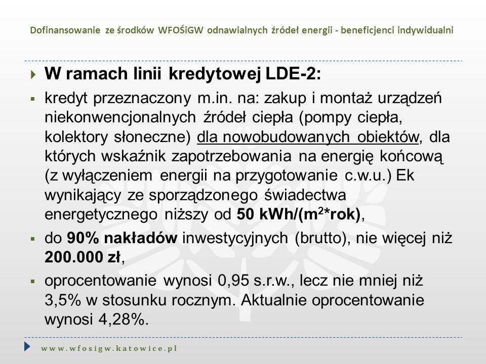  W ramach linii kredytowej LDE-2:  kredyt przeznaczony m.in. na: zakup i montaż urządzeń niekonwencjonalnych źródeł ciepła (pompy ciepła, kolektory