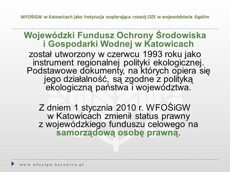 WFOŚiGW w Katowicach jako instytucja wspierająca rozwój OZE w województwie śląskim Wojewódzki Fundusz Ochrony Środowiska i Gospodarki Wodnej w Katowic
