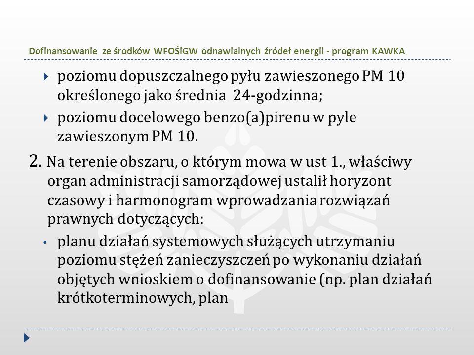 Dofinansowanie ze środków WFOŚiGW odnawialnych źródeł energii - program KAWKA  poziomu dopuszczalnego pyłu zawieszonego PM 10 określonego jako średni