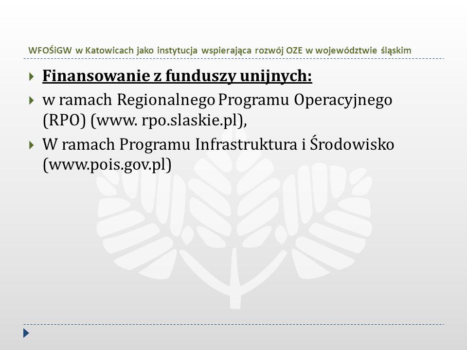 WFOŚiGW w Katowicach jako instytucja wspierająca rozwój OZE w województwie śląskim  Finansowanie z funduszy unijnych:  w ramach Regionalnego Program