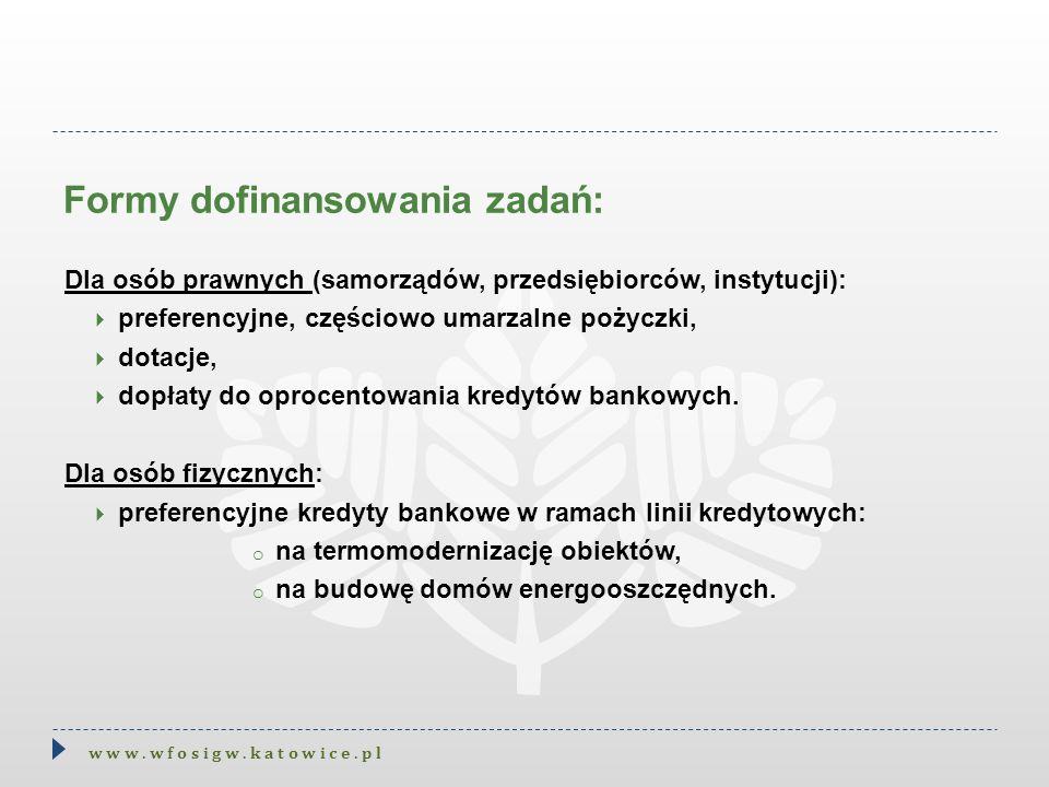 Formy dofinansowania zadań: w w w. w f o s i g w. k a t o w i c e. p l Dla osób prawnych (samorządów, przedsiębiorców, instytucji):  preferencyjne, c