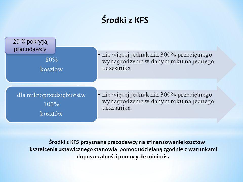 Środki z KFS Środki z KFS przyznane pracodawcy na sfinansowanie kosztów kształcenia ustawicznego stanowią pomoc udzielaną zgodnie z warunkami dopuszcz