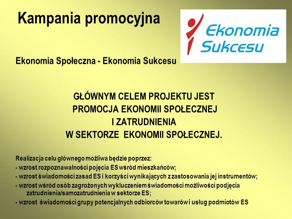 Kampania promocyjna Ekonomia Społeczna - Ekonomia Sukcesu GŁÓWNYM CELEM PROJEKTU JEST PROMOCJA EKONOMII SPOŁECZNEJ I ZATRUDNIENIA W SEKTORZE EKONOMII SPOŁECZNEJ.