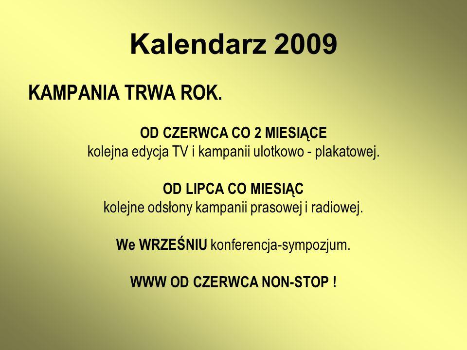 Kalendarz 2009 KAMPANIA TRWA ROK. OD CZERWCA CO 2 MIESIĄCE kolejna edycja TV i kampanii ulotkowo - plakatowej. OD LIPCA CO MIESIĄC kolejne odsłony kam