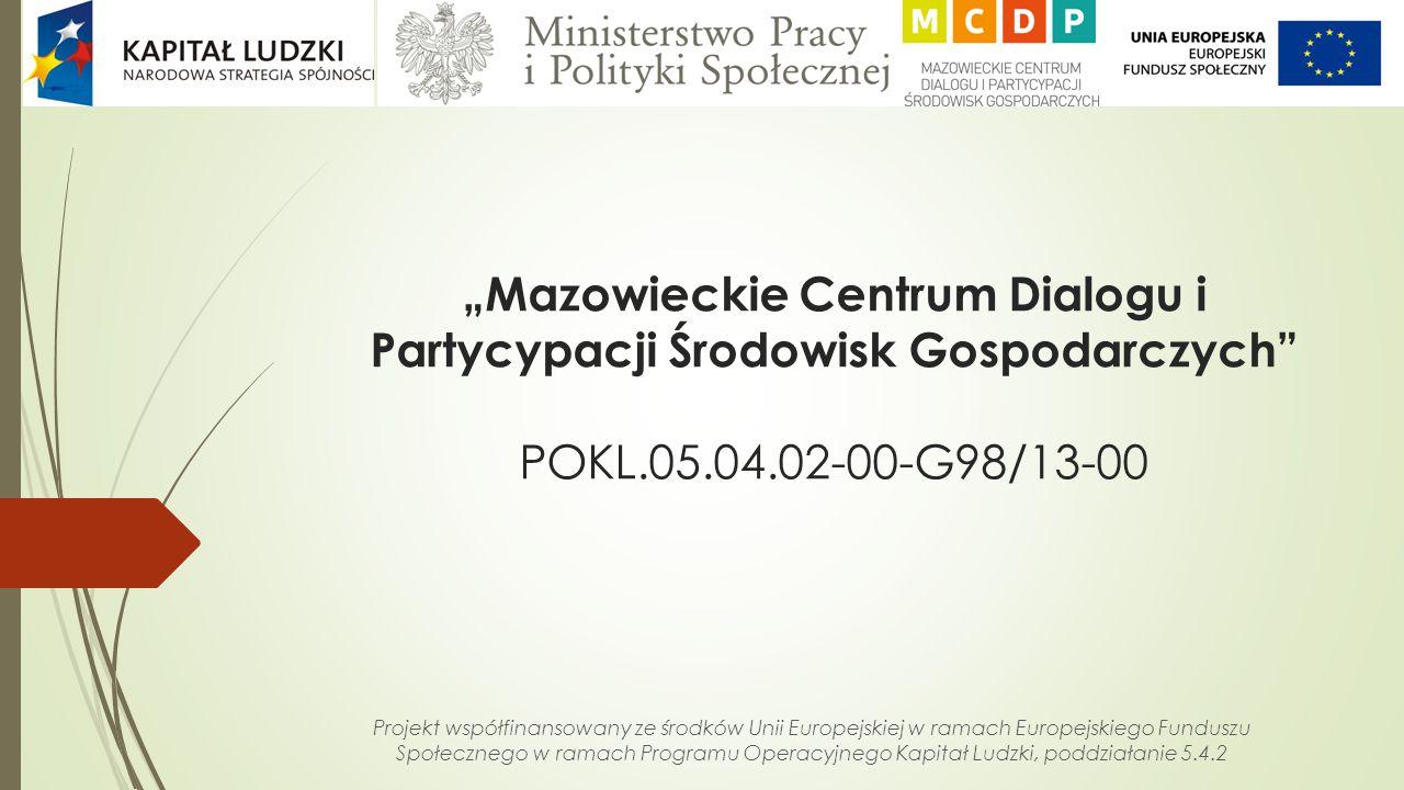 """""""Mazowieckie Centrum Dialogu i Partycypacji Środowisk Gospodarczych"""" POKL.05.04.02-00-G98/13-00 Projekt współfinansowany ze środków Unii Europejskiej"""