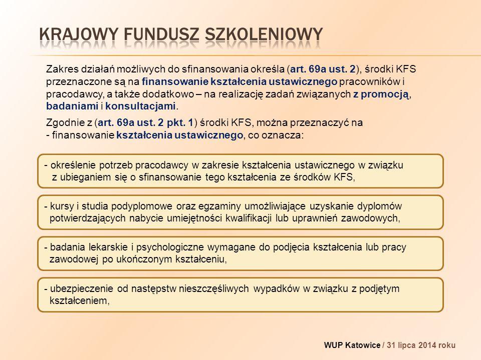 - określenie potrzeb pracodawcy w zakresie kształcenia ustawicznego w związku z ubieganiem się o sfinansowanie tego kształcenia ze środków KFS, WUP Katowice / 31 lipca 2014 roku Zakres działań możliwych do sfinansowania określa (art.