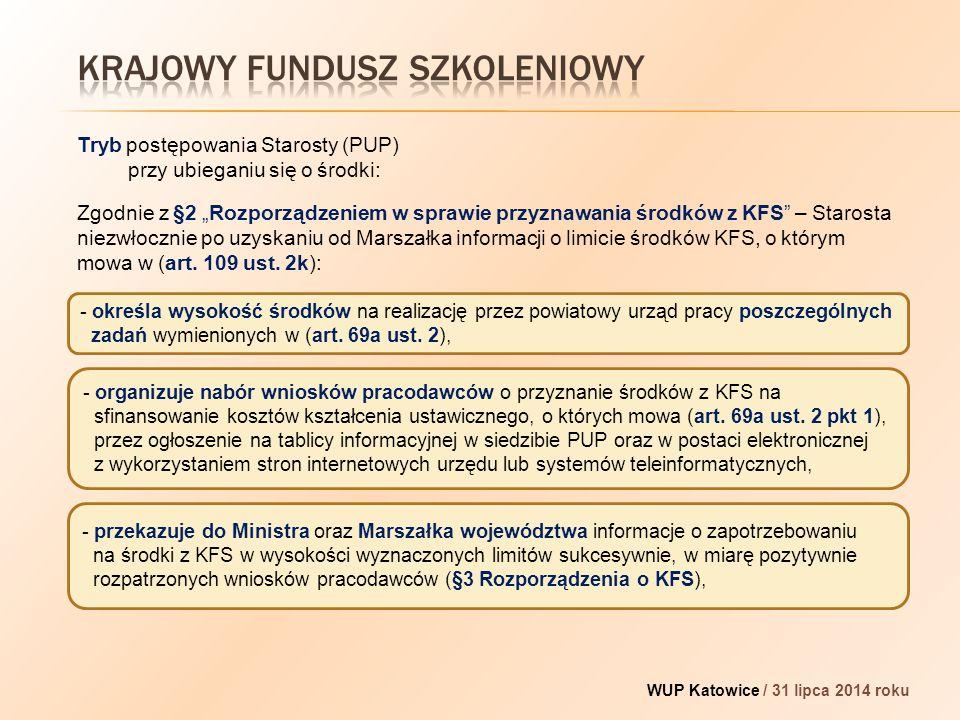 """WUP Katowice / 31 lipca 2014 roku Zgodnie z §2 """"Rozporządzeniem w sprawie przyznawania środków z KFS – Starosta niezwłocznie po uzyskaniu od Marszałka informacji o limicie środków KFS, o którym mowa w (art."""