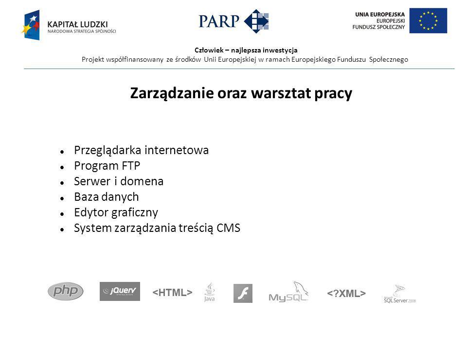 Człowiek – najlepsza inwestycja Projekt współfinansowany ze środków Unii Europejskiej w ramach Europejskiego Funduszu Społecznego Zarządzanie oraz warsztat pracy Przeglądarka internetowa Program FTP Serwer i domena Baza danych Edytor graficzny System zarządzania treścią CMS