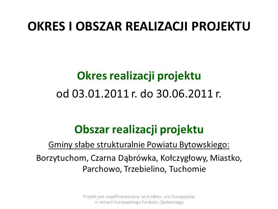 OKRES I OBSZAR REALIZACJI PROJEKTU Okres realizacji projektu od 03.01.2011 r.