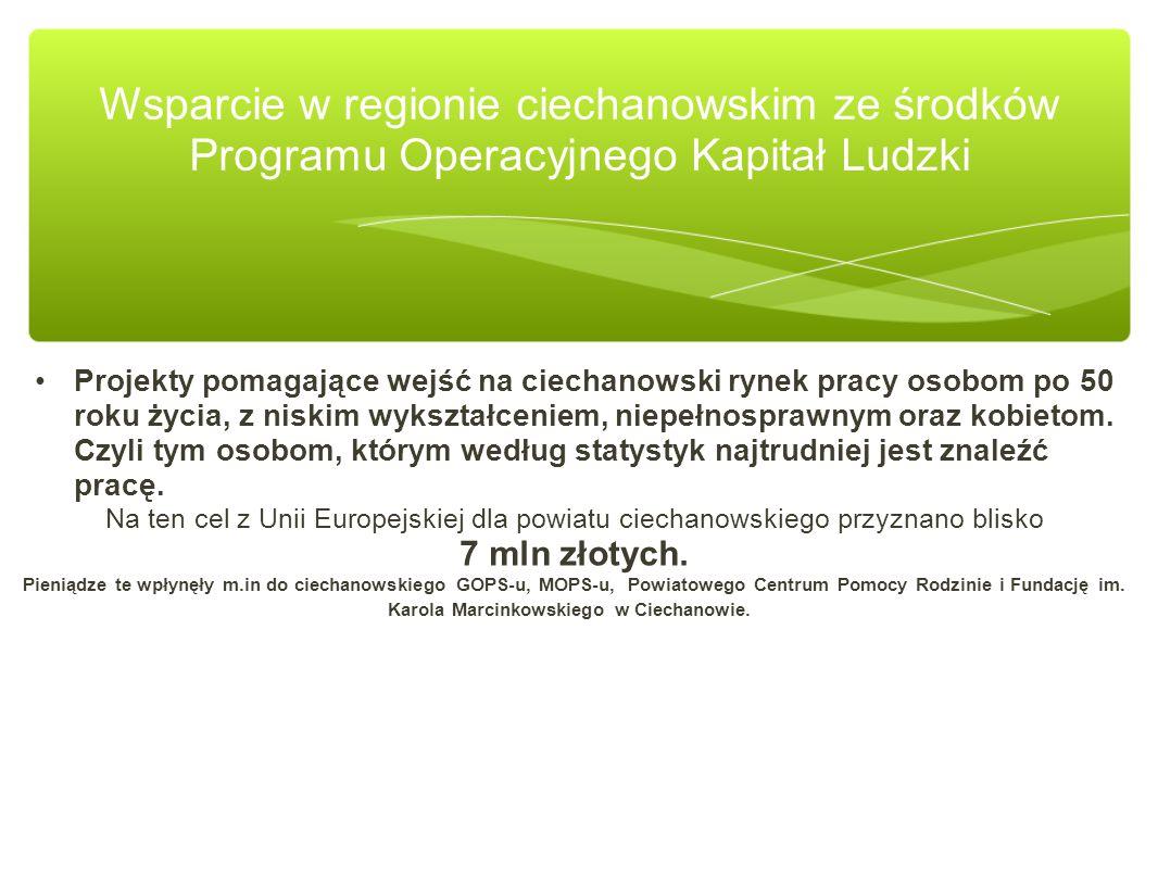Na szczególną uwagę zasługuje projekt własny Samorządu Województwa Mazowieckiego realizowany przez filię WUP w Ciechanowie.