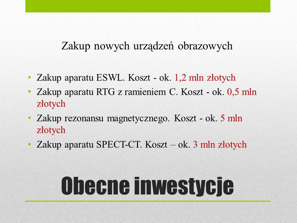 Obecne inwestycje Zakup nowych urządzeń obrazowych Zakup aparatu ESWL. Koszt - ok. 1,2 mln złotych Zakup aparatu RTG z ramieniem C. Koszt - ok. 0,5 ml