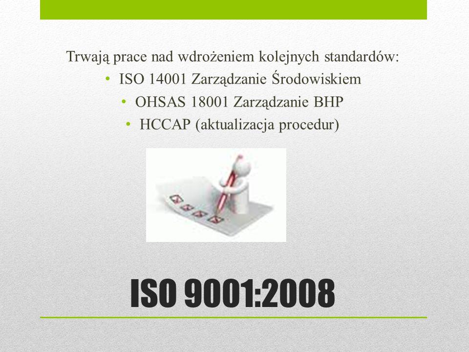ISO 9001:2008 Trwają prace nad wdrożeniem kolejnych standardów: ISO 14001 Zarządzanie Środowiskiem OHSAS 18001 Zarządzanie BHP HCCAP (aktualizacja pro
