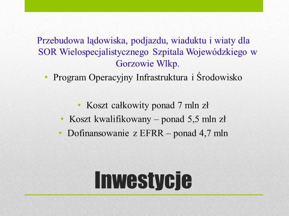 Inwestycje Przebudowa lądowiska, podjazdu, wiaduktu i wiaty dla SOR Wielospecjalistycznego Szpitala Wojewódzkiego w Gorzowie Wlkp. Program Operacyjny