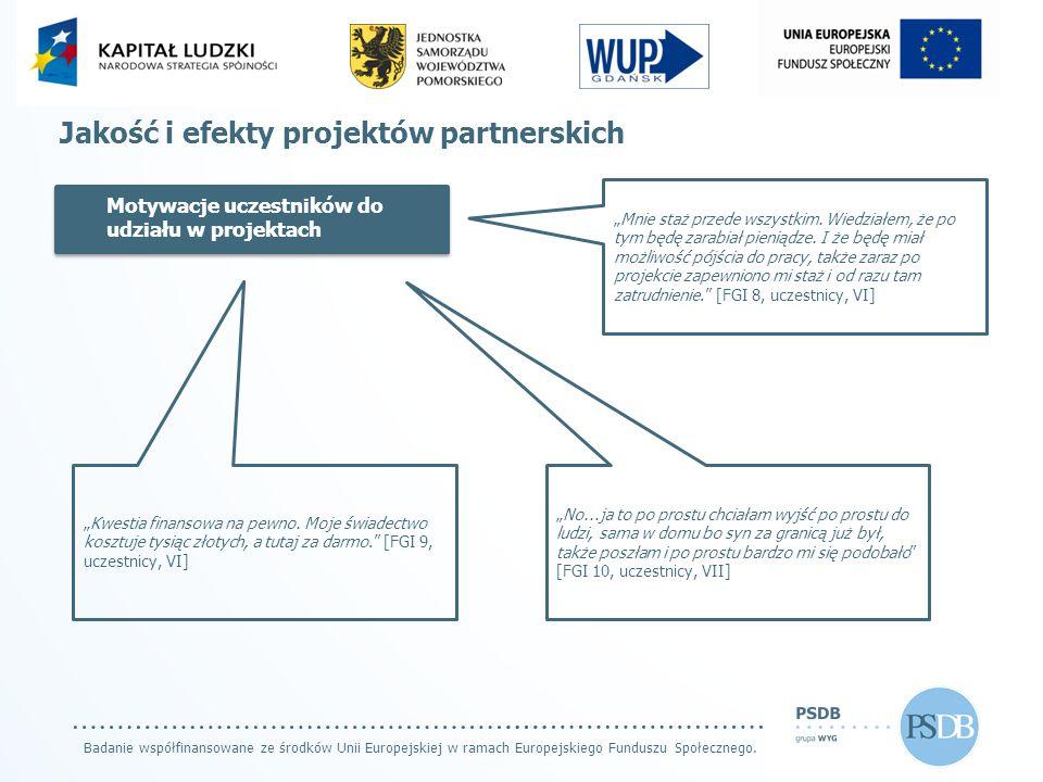 Badanie współfinansowane ze środków Unii Europejskiej w ramach Europejskiego Funduszu Społecznego. Jakość i efekty projektów partnerskich Motywacje uc