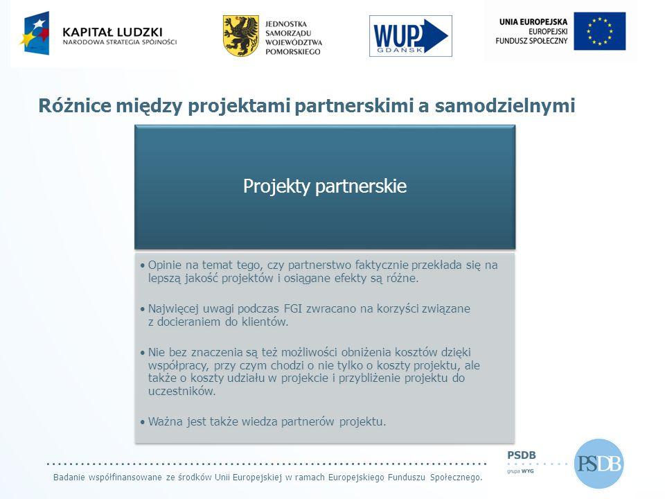 Badanie współfinansowane ze środków Unii Europejskiej w ramach Europejskiego Funduszu Społecznego. Różnice między projektami partnerskimi a samodzieln