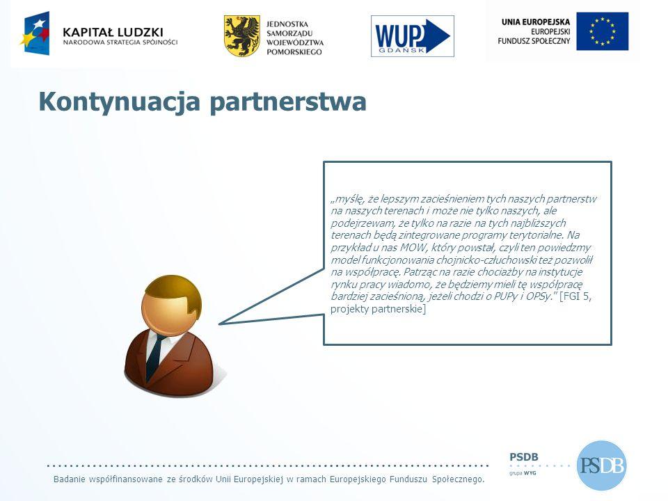 """Badanie współfinansowane ze środków Unii Europejskiej w ramach Europejskiego Funduszu Społecznego. Kontynuacja partnerstwa """"myślę, że lepszym zacieśni"""