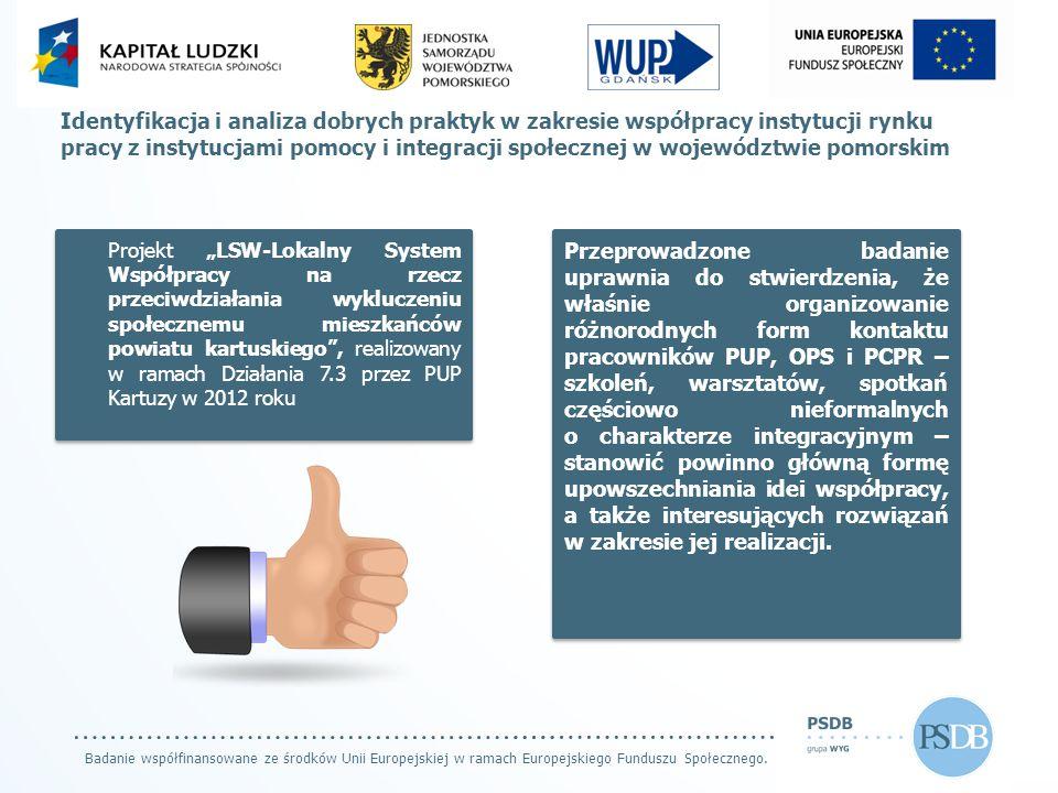 Badanie współfinansowane ze środków Unii Europejskiej w ramach Europejskiego Funduszu Społecznego. Identyfikacja i analiza dobrych praktyk w zakresie