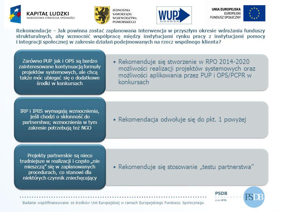 Badanie współfinansowane ze środków Unii Europejskiej w ramach Europejskiego Funduszu Społecznego. Rekomendacje – Jak powinna zostać zaplanowana inter