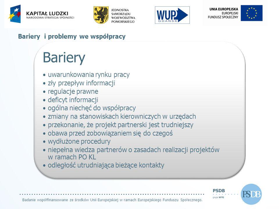 Badanie współfinansowane ze środków Unii Europejskiej w ramach Europejskiego Funduszu Społecznego. Bariery i problemy we współpracy Bariery uwarunkowa