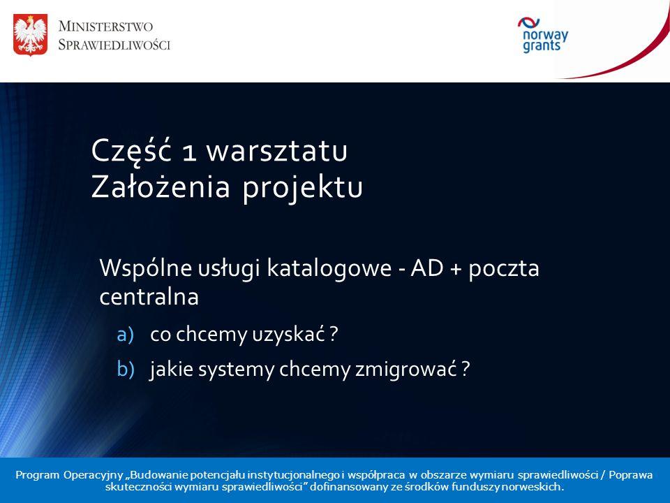 Część 1 warsztatu Założenia projektu Wspólne usługi katalogowe - AD + poczta centralna a)co chcemy uzyskać ? b)jakie systemy chcemy zmigrować ? Progra