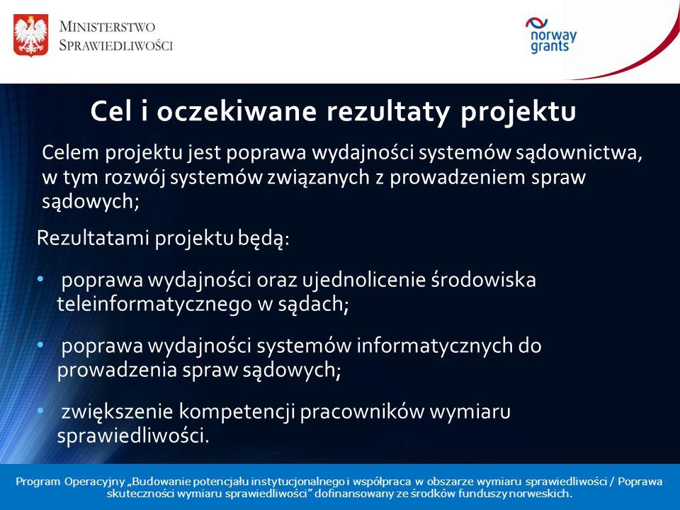 Cel i oczekiwane rezultaty projektu Rezultatami projektu będą: poprawa wydajności oraz ujednolicenie środowiska teleinformatycznego w sądach; poprawa