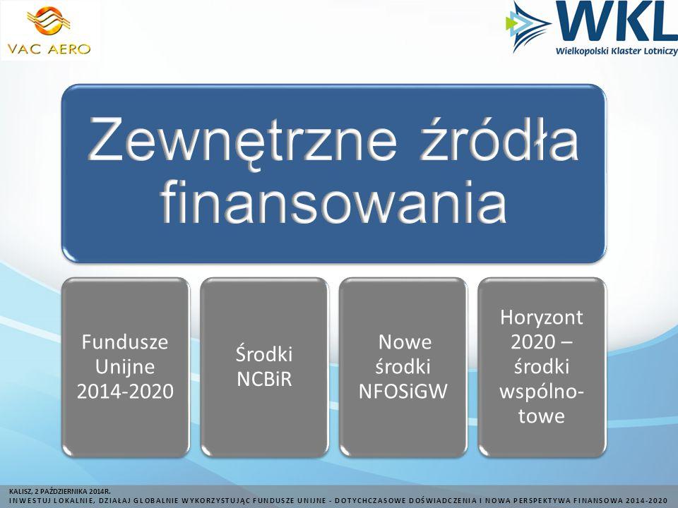 Fundusze Unijne 2014-2020 Środki NCBiR Nowe środki NFOSiGW Horyzont 2020 – środki wspólno- towe KALISZ, 2 PAŹDZIERNIKA 2014R.