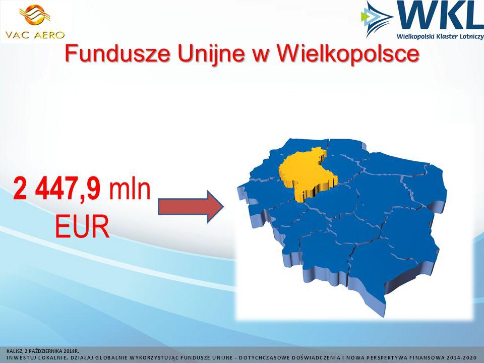 Fundusze Unijne w Wielkopolsce 2 447,9 mln EUR KALISZ, 2 PAŹDZIERNIKA 2014R.