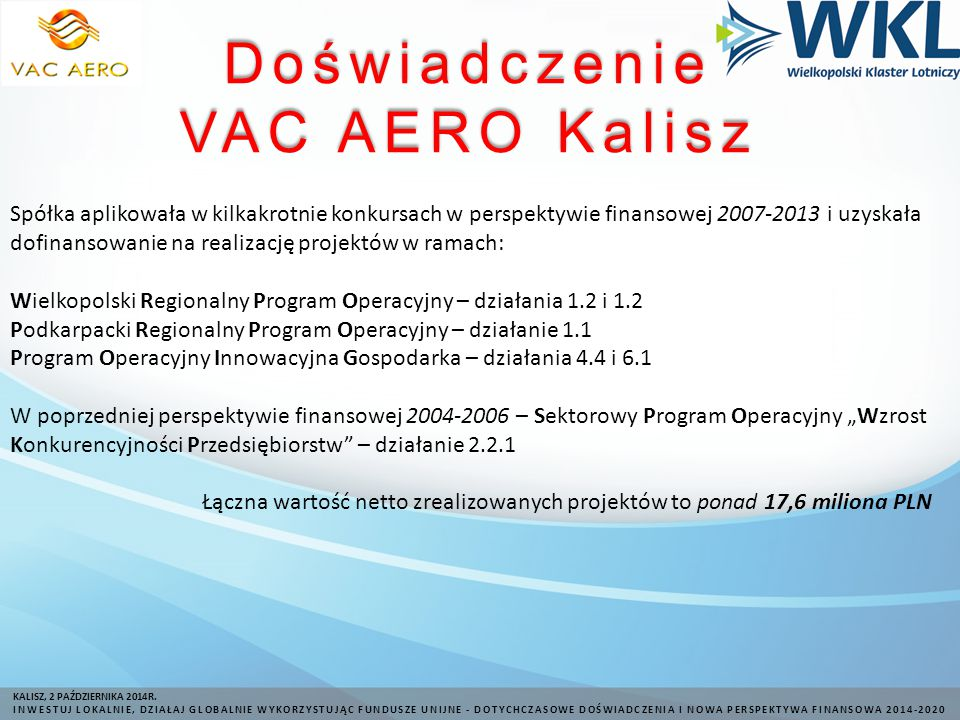 Doświadczenie VAC AERO Kalisz KALISZ, 2 PAŹDZIERNIKA 2014R.