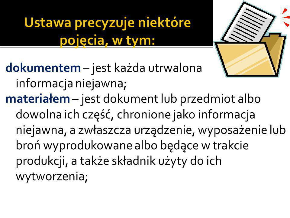 dokumentem – jest każda utrwalona informacja niejawna; materiałem – jest dokument lub przedmiot albo dowolna ich część, chronione jako informacja niej